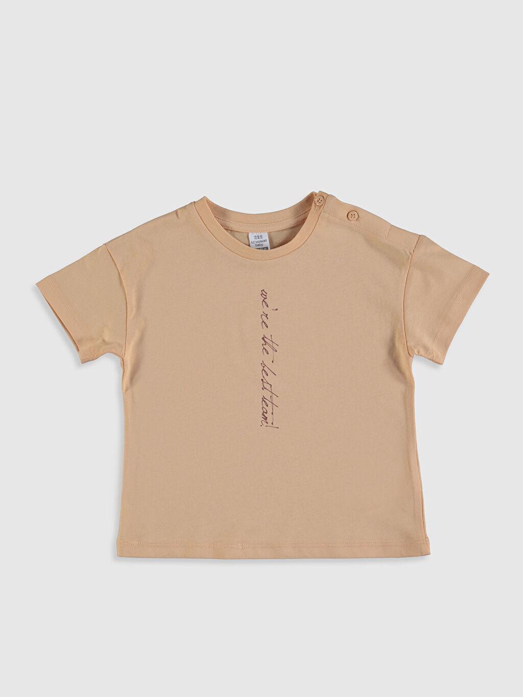 Turuncu Kız Bebek Baskılı Pamuklu Tişört  0SJ351Z4 LC Waikiki