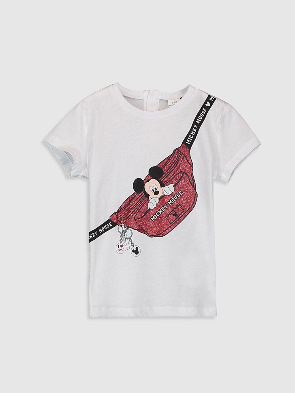 Beyaz Kız Bebek Mickey Mouse Baskılı Pamuklu Tişört 0SJ562Z4 LC Waikiki