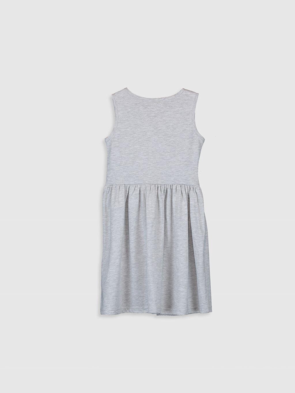 %67 Pamuk %33 Polyester Süprem Mini Baskılı Bisiklet Yaka Elbise Kız Çocuk Desenli Pamuklu Elbise