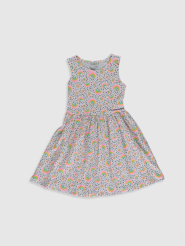 Beyaz Kız Çocuk Desenli Pamuklu Elbise 0SJ837Z4 LC Waikiki