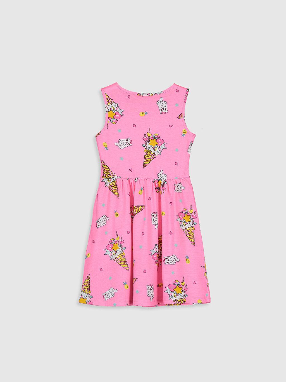 %100 Pamuk Süprem Mini Baskılı Bisiklet Yaka Elbise Kız Çocuk Desenli Pamuklu Elbise