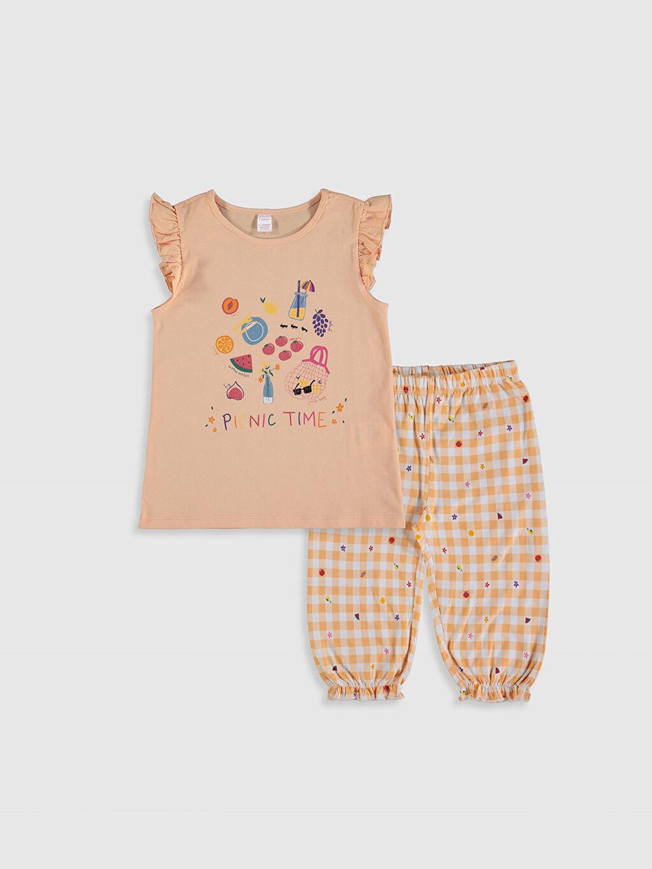 Pembe Kız Çocuk Baskılı Pamuklu Pijama Takımı 0SK406Z4 LC Waikiki