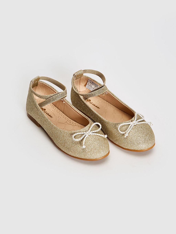 Sarı Kız Çocuk Simli Şık Babet Ayakkabı 0SL735Z4 LC Waikiki