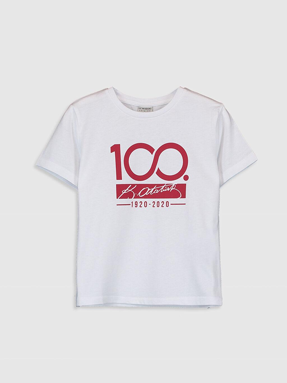 Beyaz Erkek Çocuk Atatürk İmzalı Pamuklu Tişört 0SN621Z4 LC Waikiki