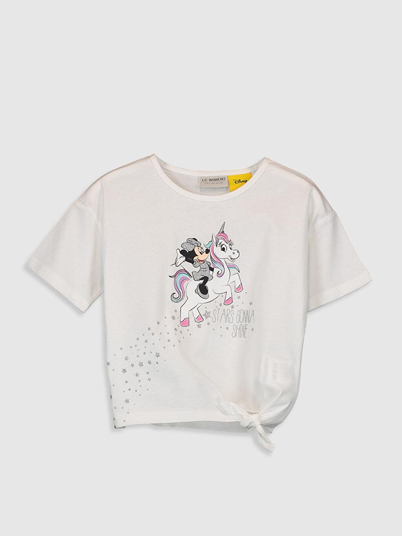 Beyaz Kız Çocuk Mickey Mouse Baskılı Pamuklu Tişört 0SO704Z4 LC Waikiki