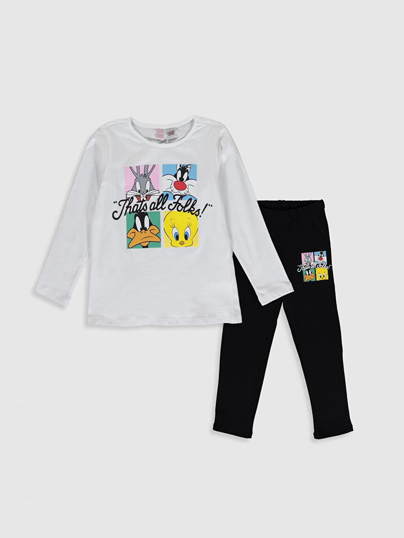 Beyaz Kız Çocuk Looney Tunes Baskılı Pamuklu Pijama Takımı 0SA129Z4 LC Waikiki