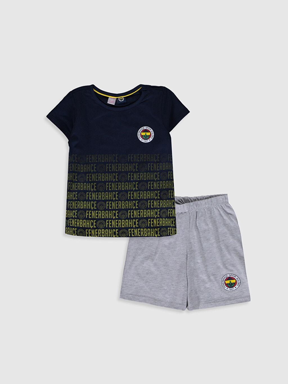 Lacivert Aile Koleksiyonu Kız Çocuk Fenerbahçe Amblemli Pamuklu Pijama Takımı 0SC297Z4 LC Waikiki