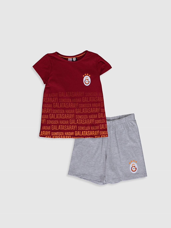 Kırmızı Aile Koleksiyonu Kız Çocuk Galatasaray Amblemli Pamuklu Pijama Takımı 0SC298Z4 LC Waikiki