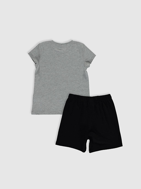 %50 Pamuk %50 Polyester Kısa Kol Süprem Standart Pijama Takım Beşiktaş Aile Koleksiyonu Kız Çocuk Beşiktaş Amblemli Baskılı Pijama Takımı