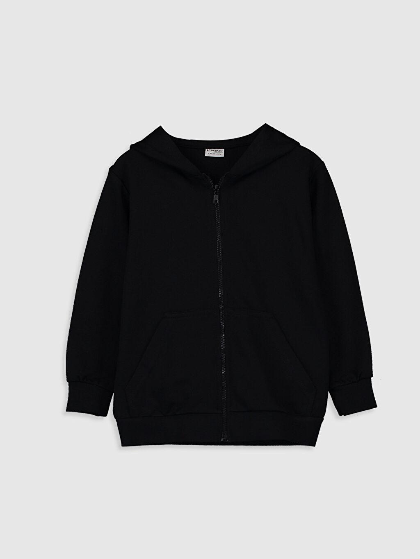 Siyah Erkek Çocuk Fermuarlı Kapüşonlu Sweatshirt 0SC369Z4 LC Waikiki