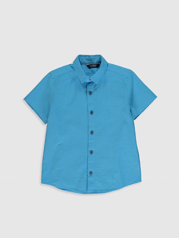 Mavi Erkek Çocuk Desenli Pamuklu Gömlek 0SC511Z4 LC Waikiki