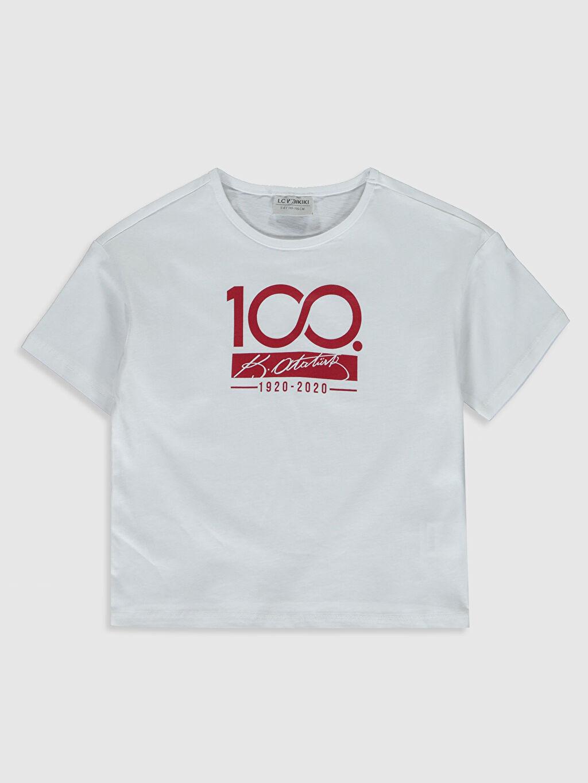 Beyaz Kız Çocuk Atatürk İmzalı Pamuklu Tişört 0SC575Z4 LC Waikiki