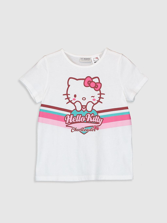 Beyaz Kız Çocuk Hello Kitty Baskılı Pamuklu Tişört 0SC868Z4 LC Waikiki