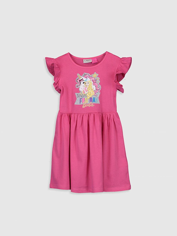 Pembe Kız Çocuk Barbie Baskılı Pamuklu Elbise 0SC996Z4 LC Waikiki