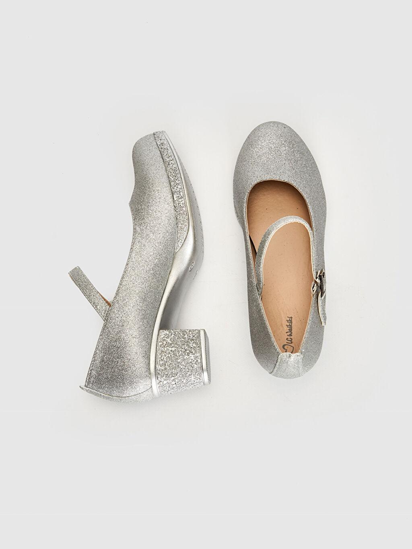 %0 Tekstil malzemeleri (%100 poliester) Işıksız Babet Tokalı PU Astar Kız Çocuk Simli Kısa Topuk Babet Ayakkabı