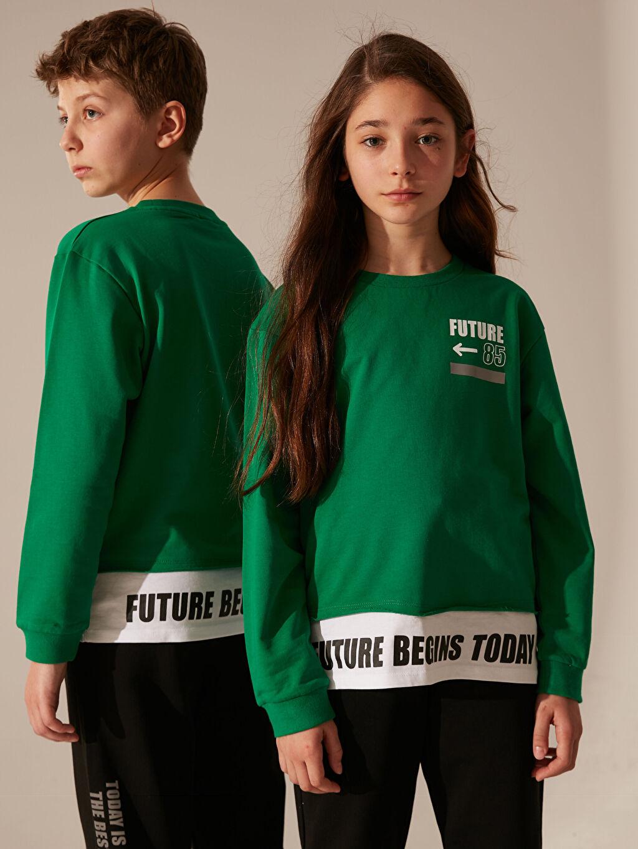 Yeşil Unisex Çocuk Baskılı Sweatshirt 0SE203Z4 LC Waikiki