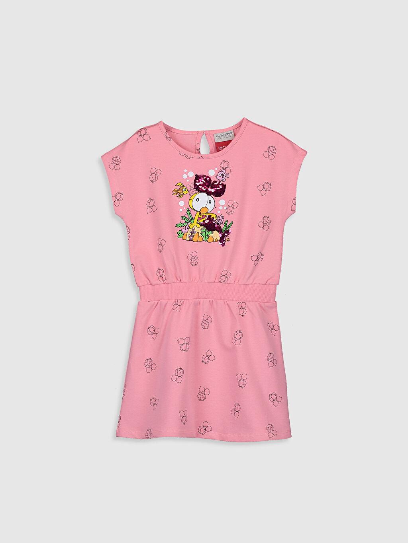 Turuncu Kız Çocuk Limon Baskılı Pamuklu Elbise 0SE723Z4 LC Waikiki