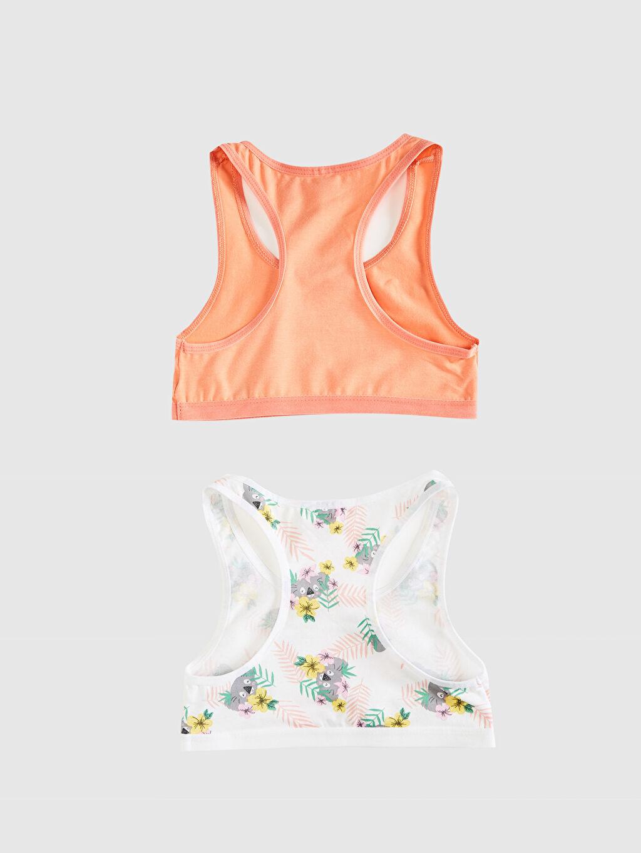 %95 Pamuk %5 Elastan Askılı Büstiyer U Yaka Süprem İç Giyim Atlet Standart Kız Çocuk Pamuklu Büstiyer 2'li