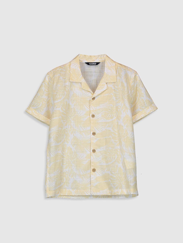 Bej Erkek Çocuk Desenli Poplin Gömlek 0SF207Z4 LC Waikiki