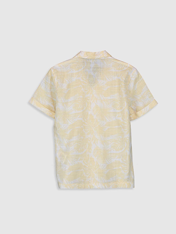 %100 Pamuk %100 Pamuk İnce Düğmeli Gömlek Yaka Poplin Standart Baskılı Kısa Kol Aksesuarsız Gömlek Erkek Çocuk Desenli Poplin Gömlek