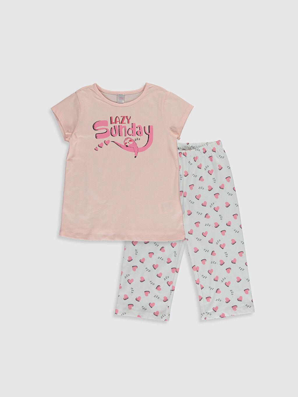 Pembe Kız Çocuk Baskılı Pamuklu Pijama Takımı 0SF387Z4 LC Waikiki
