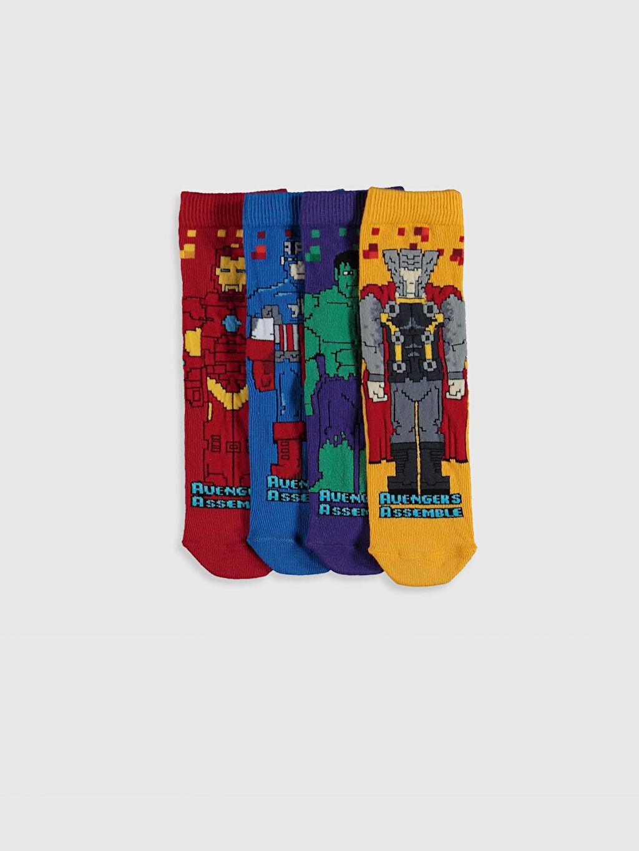 Çok Renkli Erkek Çocuk Avengers Soket Çorap 4'lü 0SF423Z4 LC Waikiki