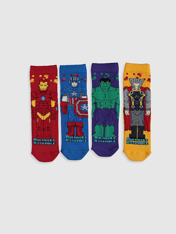 %63 Pamuk %35 Poliamid %2 Elastan  Erkek Çocuk Avengers Soket Çorap 4'lü