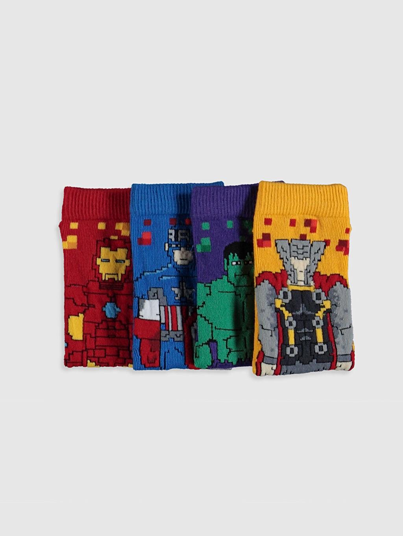 Erkek Çocuk Erkek Çocuk Avengers Soket Çorap 4'lü