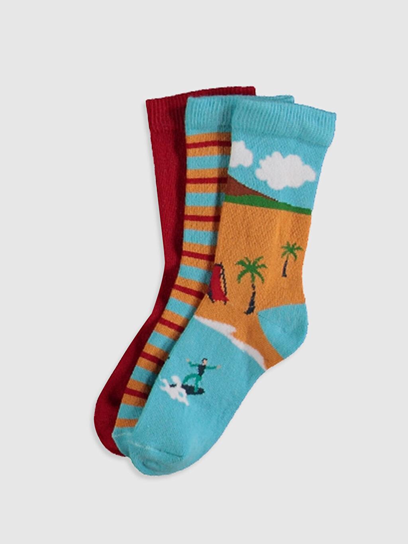 Çok Renkli Erkek Çocuk Soket Çorap 3'lü 0SF451Z4 LC Waikiki