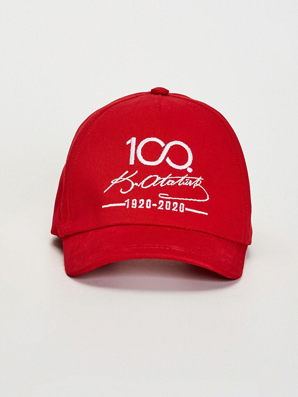 %100 Pamuk Kep Astarsız Şapka Kız Çocuk 100.Yıl Atatürk Baskılı Şapka