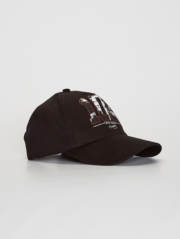 Siyah 100.Yıl Atatürk Baskılı Kız Çocuk Şapka 0SF614Z4 LC Waikiki