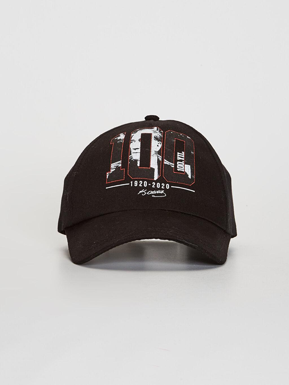 %100 Pamuk Kep Astarsız Şapka 100.Yıl Atatürk Baskılı Kız Çocuk Şapka