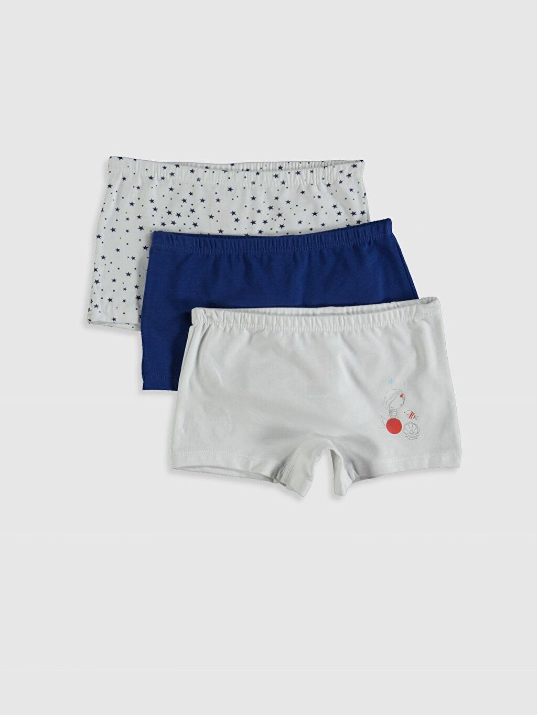 Beyaz Kız Çocuk Pamuklu Boxer 3'lü 0SF923Z4 LC Waikiki