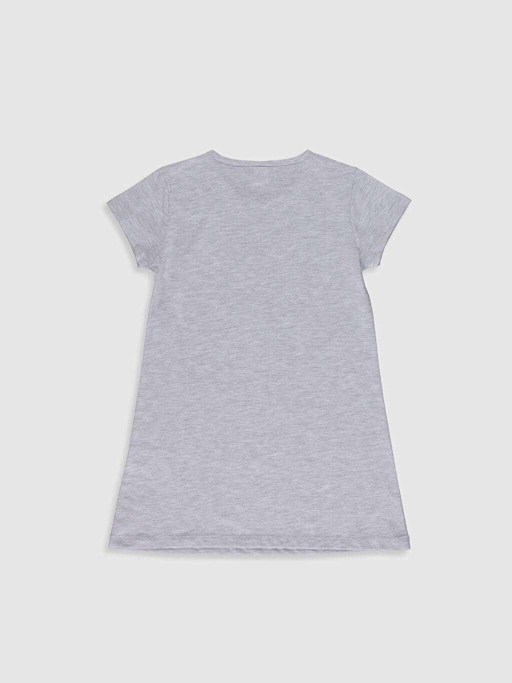 %51 Pamuk %49 Polyester Gecelik Süprem Standart Kız Çocuk Yazı Baskılı Gecelik