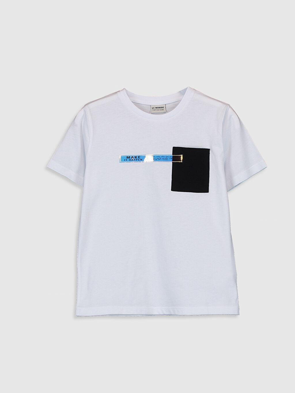 Beyaz Erkek Çocuk Baskılı Pamuklu Tişört 0SQ085Z4 LC Waikiki