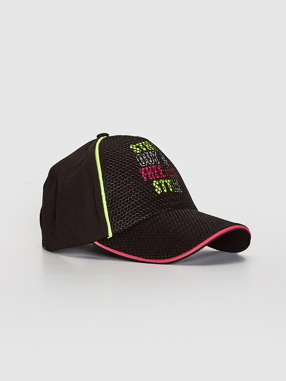 Siyah Kız Çocuk Yazı Baskılı File Detaylı Şapka 0SQ767Z4 LC Waikiki