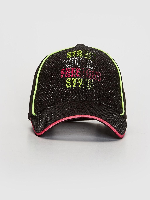 %100 Pamuk Kep Astarsız Şapka Kız Çocuk Yazı Baskılı File Detaylı Şapka