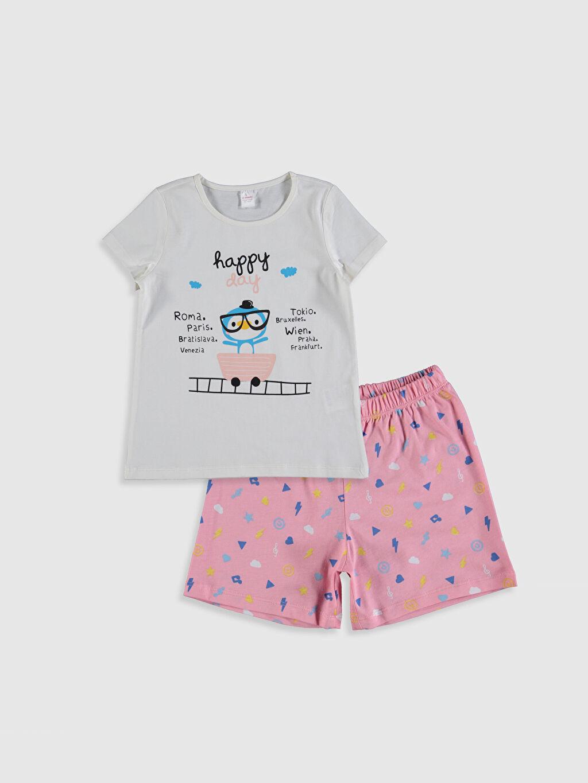Ekru Kız Çocuk Baskılı Pijama Takımı 0SQ814Z4 LC Waikiki