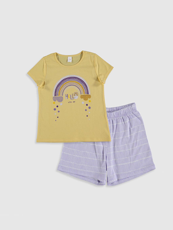 Sarı Kız Çocuk Baskılı Pamuklu Pijama Takımı 0SQ827Z4 LC Waikiki