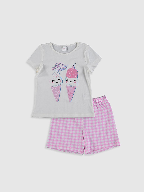Ekru Kız Çocuk Baskılı Pamuklu Pijama Takımı 0SQ917Z4 LC Waikiki