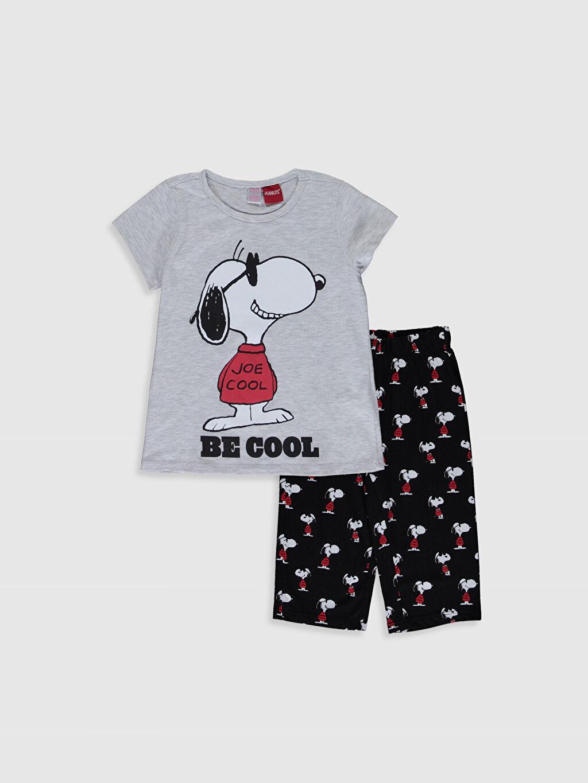 Gri Kız Çocuk Snoopy Baskılı Pijama Takımı 0SR137Z4 LC Waikiki