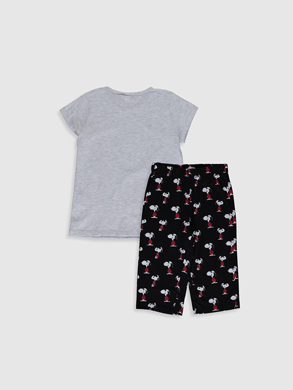 %100 Pamuk İnce Snoopy Standart Pijama Takım Kısa Kol Süprem Kız Çocuk Snoopy Baskılı Pijama Takımı