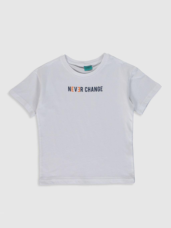 Beyaz Erkek Çocuk Yazı Baskılı Pamuklu Tişört 0SS093Z4 LC Waikiki