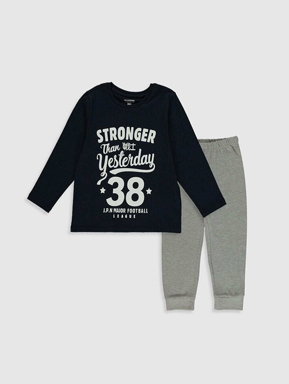 Gri Erkek Çocuk Baskılı Pijama Takımı 0SS166Z4 LC Waikiki