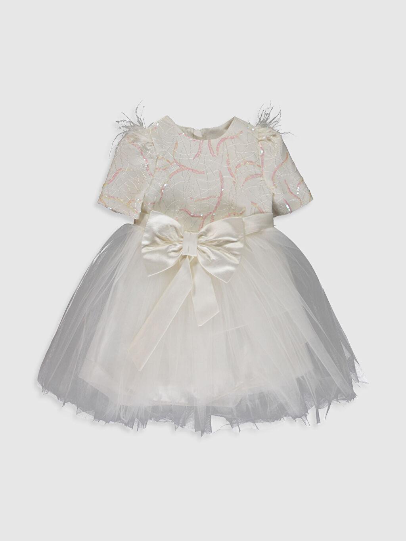 Ekru Daisy Girl Kız Bebek Desenli Abiye Elbise 0SS868Z4 LC Waikiki