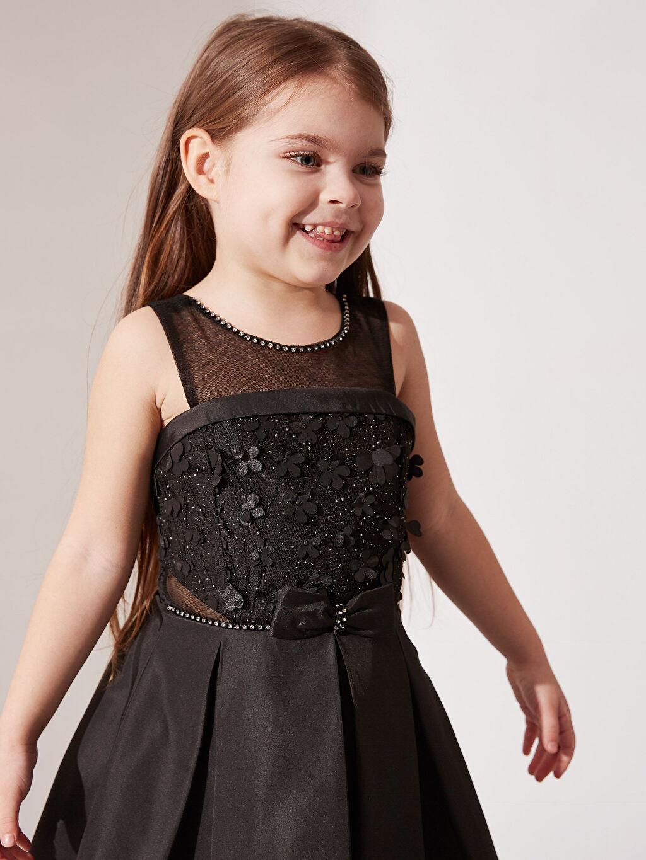 Siyah Daisy Girl Kız Çocuk Çiçekli Fiyonk Detaylı Detaylı Abiye Elbise 0SS919Z4 LC Waikiki