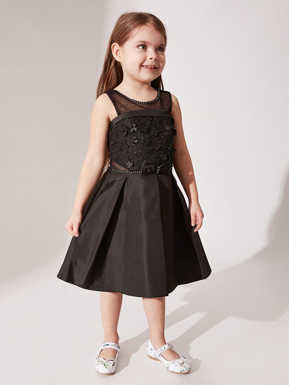 Elbise Daisy Girl Kız Çocuk Çiçekli Fiyonk Detaylı Detaylı Abiye Elbise