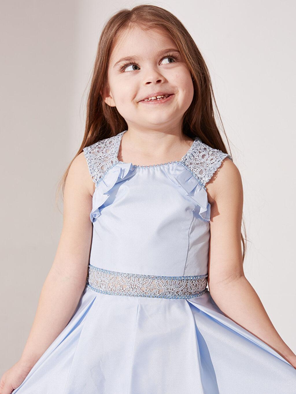 Mavi Daisy Girl Kız Çocuk Dantel Detaylı Abiye Elbise 0SS929Z4 LC Waikiki