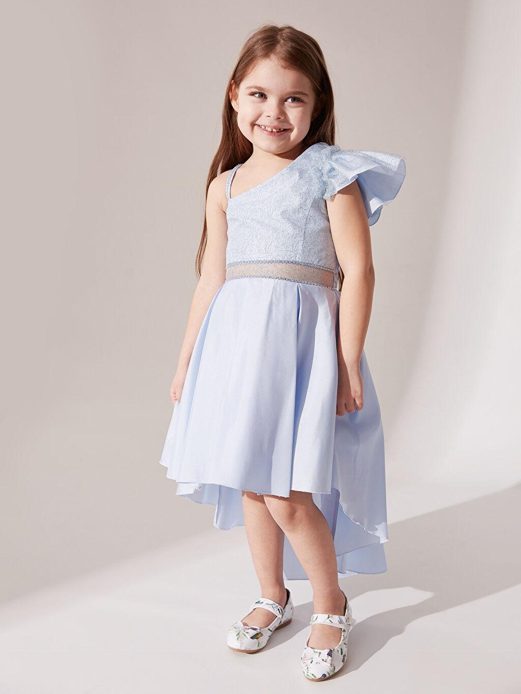Mavi Daisy Girl Kız Çocuk Omuz Detaylı Kuyruklu Abiye Elbise 0SS937Z4 LC Waikiki