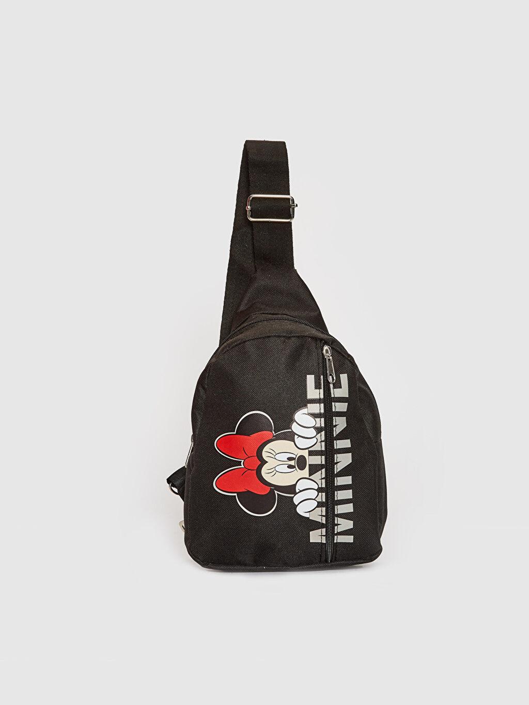 Siyah Kız Çocuk Minnie Mouse Baskılı Sırt ve Göğüs Çantası 0ST166Z4 LC Waikiki